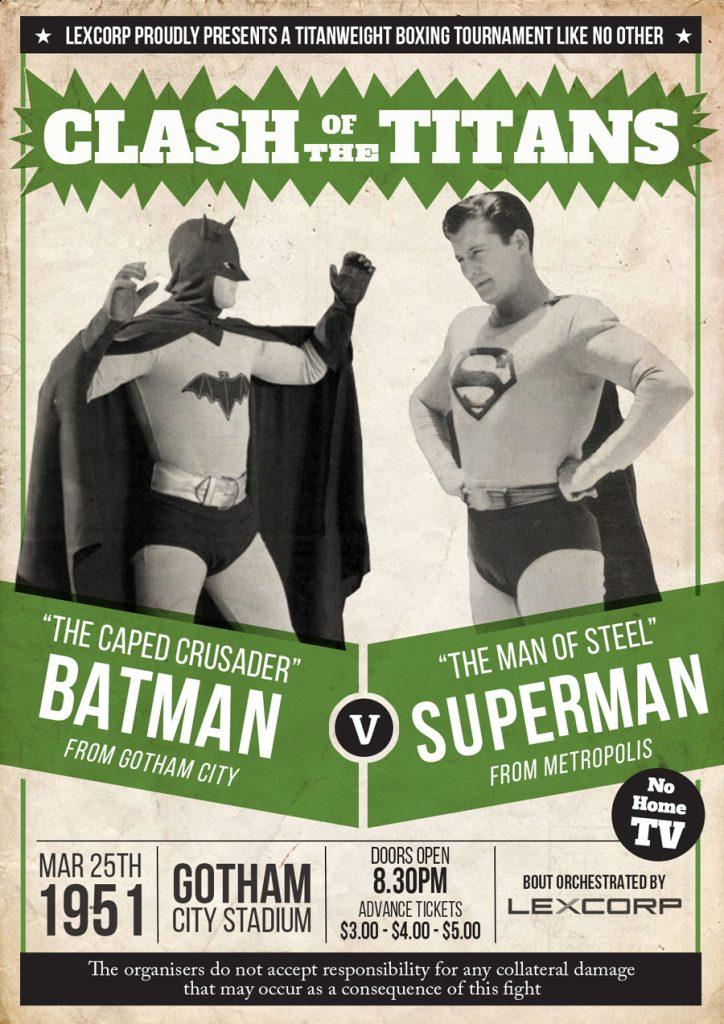 Batman v Superman Vintage Boxing Poster