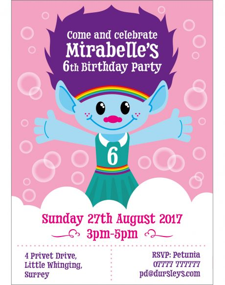 Trolls Birthday Invite