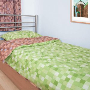 Minecraft Green Pixels Bedding for Bedroom