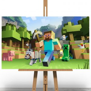 Minecraft Steve and Dog Canvas Print